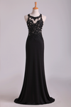 2021 Popular Black Scoop Sheath/Column Prom Dresses With Beading And Applique