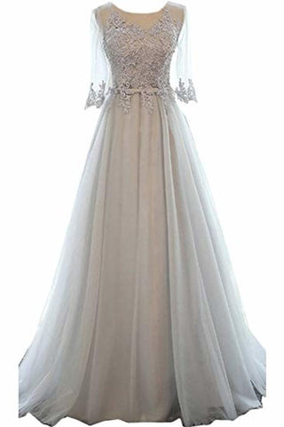 A-Line Mid-Length Sleeves Round Neck Lace Tulle Ball Gown Beading Evening Long