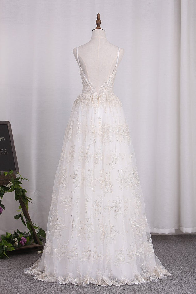 2021 New Arrival Spaghetti Straps A Line Lace Wedding Dresses