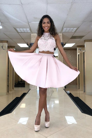 Two Piece Lace Top Satin Skirt Homecoming Dress With