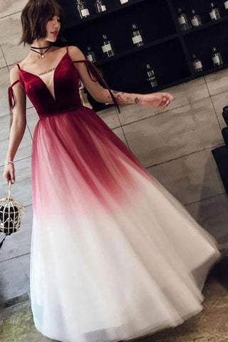 A Line Spaghetti Straps Ombre Long Tulle Prom Dresses, Burgundy V Neck Evening Dress SME15029