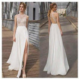 White Side Split Prom Dress Open Back Bridesmaid Dresses Beach Wedding Dress JS548