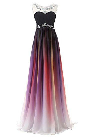 A-line Long Ombre Scoop Cap Sleeve Open Back Chiffon Bridesmaid Dresses Prom Dresses SME16