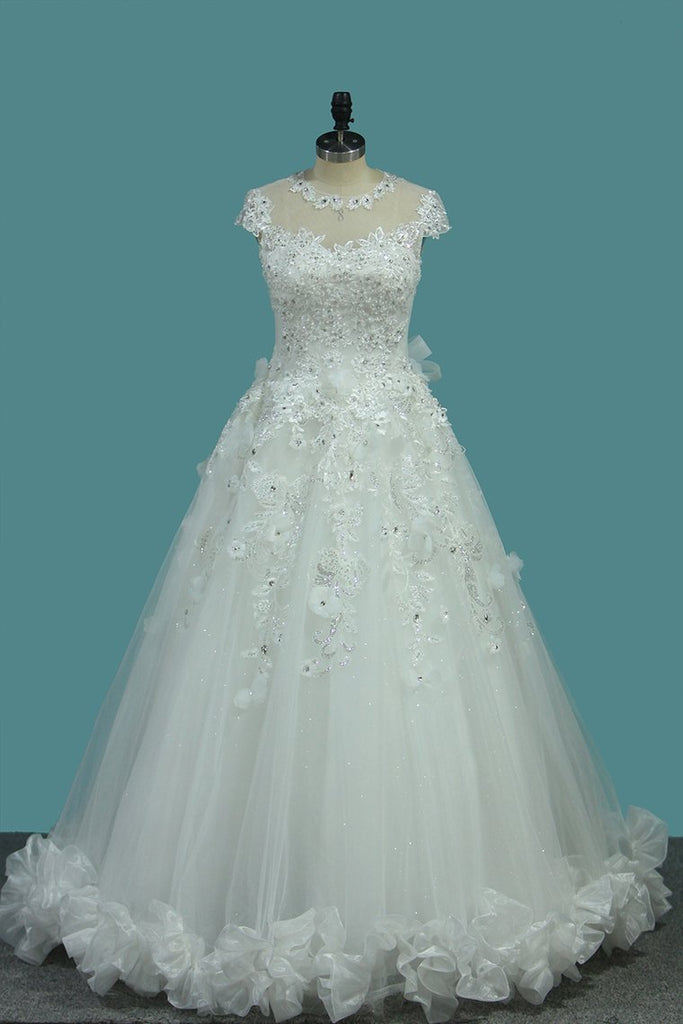 Top Quality Lace Ball Gown Cap Sleeve Wedding Dresses With Applique &