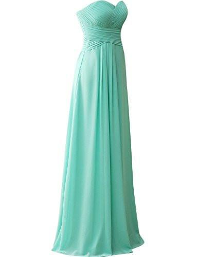 Sweetheart Bridesmaid Dresses Chiffon Long Prom Evening Gown Pleat JS196