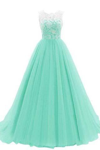 Women's Ruched Sleeveless Lace Long Prom Dresses Prom Gown Prom Dresses JS767