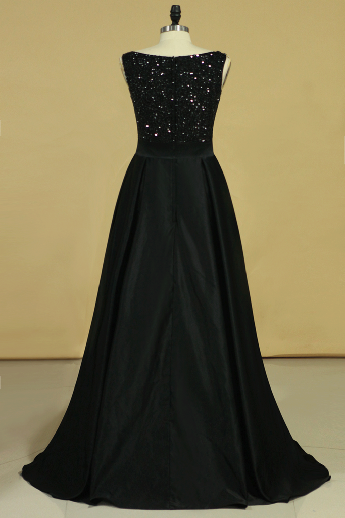 2020 Black Prom Dresses Black Bodice Scoop Satin Floor Length Beaded & Belt