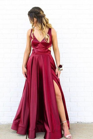 V-Neck Side Split Burgundy Prom Dress With Cutout