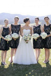 Simple Hot Scoop Open Back Lace Black Short Bridesmaid Dresses JS463
