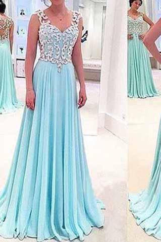 See Through Sexy Blue Sweetheart Sleeveless A-Line Chiffon Appliques Long Prom Dresses JS944