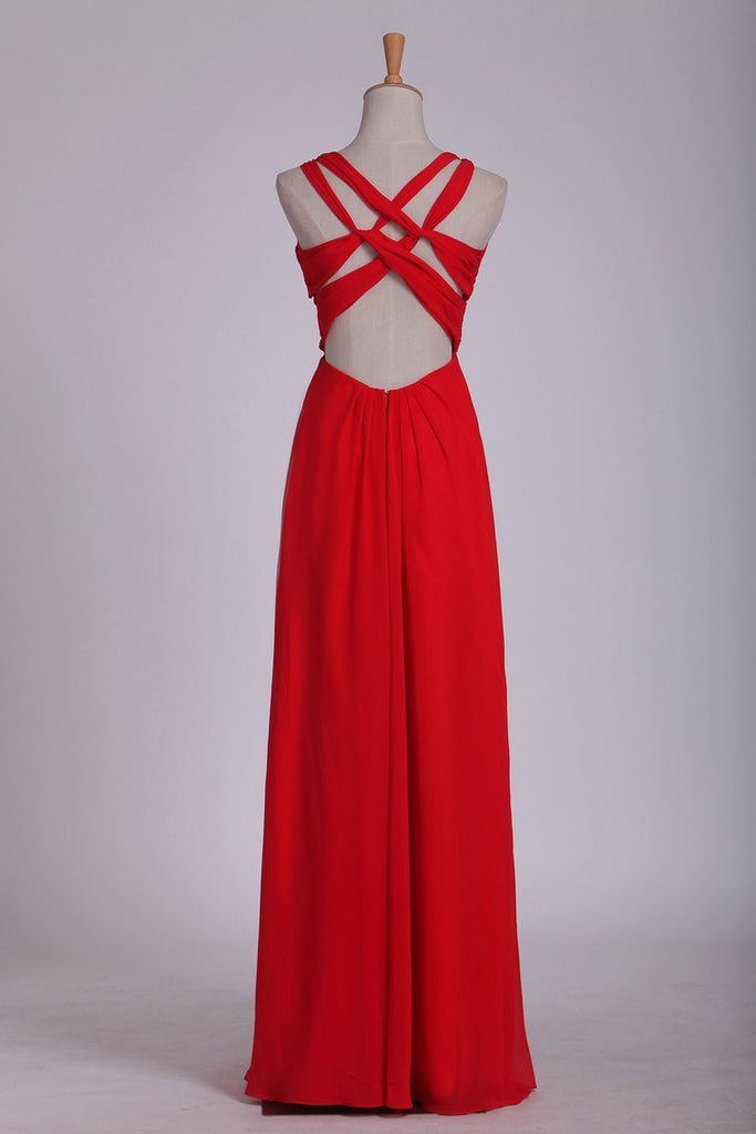 Sexy Open Back V Neck Ruched Bodice Prom Dresses A Line
