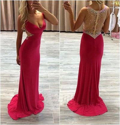 See Through Sexy Red Long Cheap V-Neck Beads Sleeveless Mermaid Prom Dresses JS953