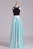 Prom Dresses A-Line Scoop Elastic Satin Two Pieces Black Bodice Backless Floor-Length