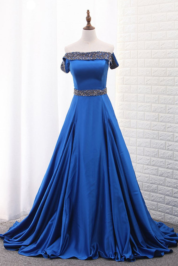 2021 Boat Neck Satin A Line With Beads Sweep Train Prom