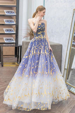 Charming Ombre Puffy Strapless Sparkly Prom Dress, Sexy Long Sleeveless Party Dresses SME15118