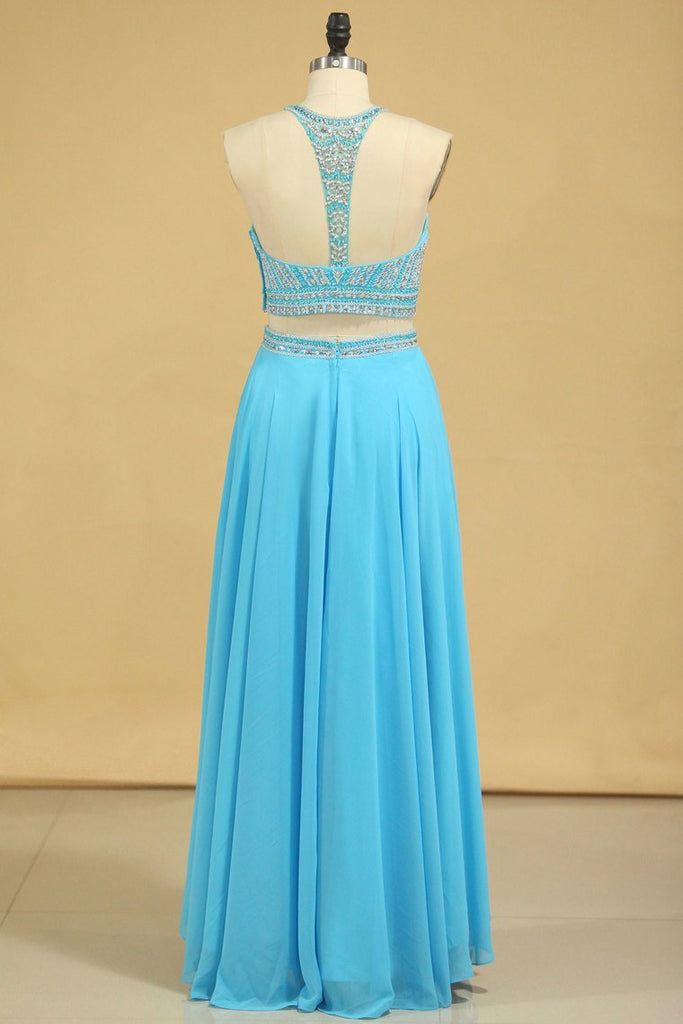 Two-Piece Scoop Prom Dresses A Line Open Back Chiffon & Tulle With