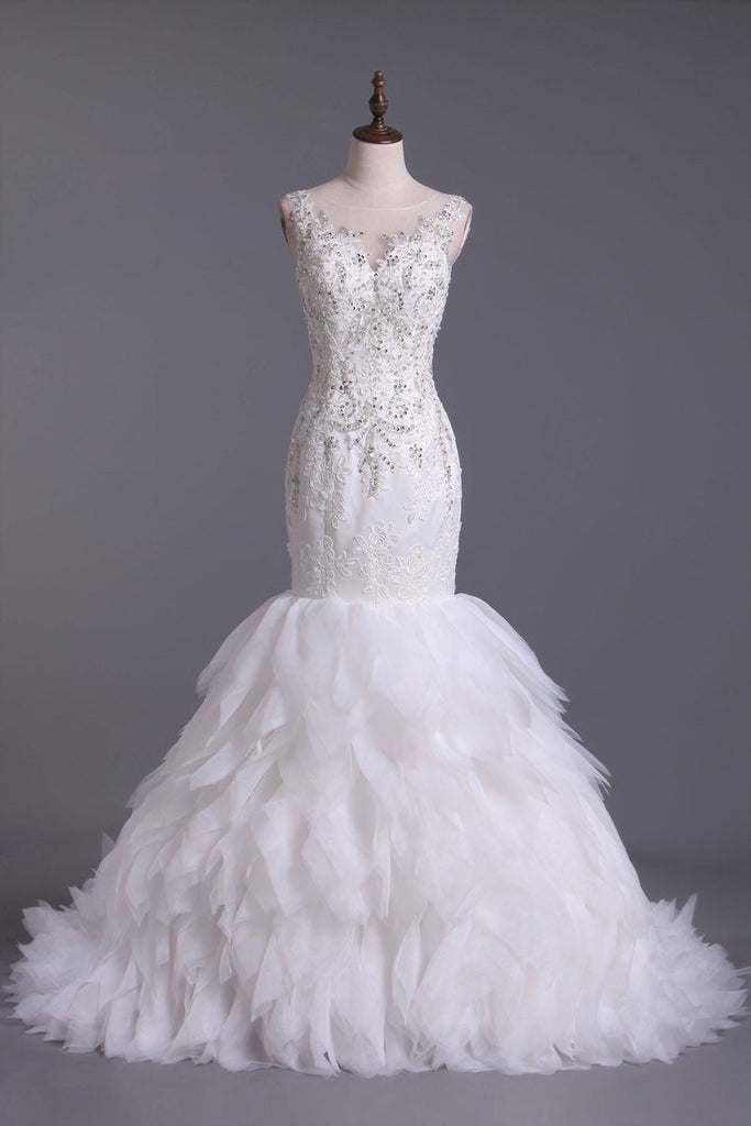 2019 Wedding Dresses Bateau Mermaid Tulle With Applique &