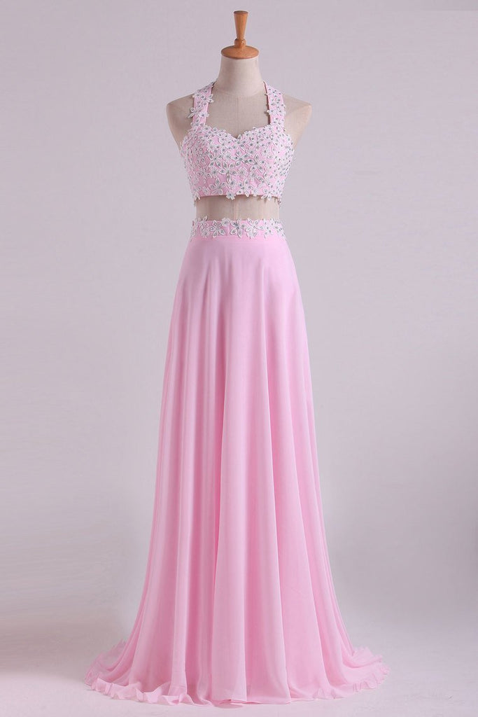 2020 Halter Prom Dresses A-Line With Applique Chiffon