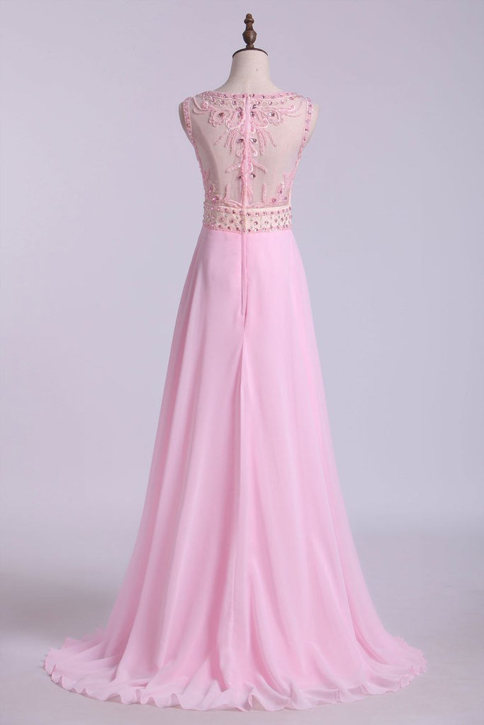 2020 Beaded Bodice Bateau Prom Dresses Chiffon Floor Length
