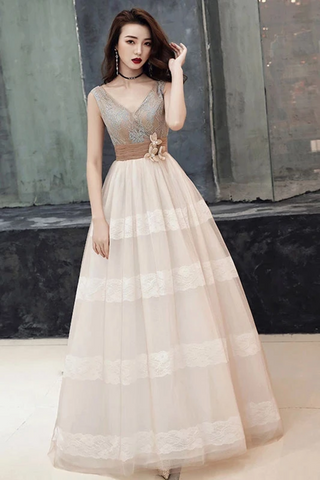 Unique V Neck Tulle Lace Long Prom Dress Tulle V Back Evening Dress With