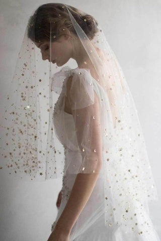 Elegant Short Sequins Tulle Wedding Veils with Stars SME15580