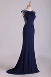 2021 New Arrival Scoop Evening Dresses Cap Sleeves Chiffon Sheath With Applique