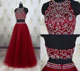 Two Piece Halter Burgundy Sleeveless Prom Dresses Sparkle Formal Dress For Teens JS937