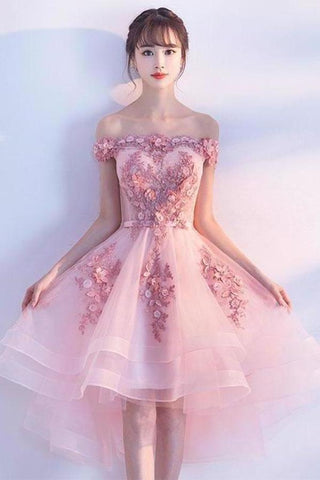 Pink Lace Tulle Short Prom Dress Off-the-Shoulder Appliques Lace up Homecoming Dresses SMEPST13190