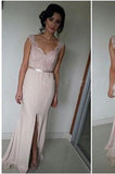 Mermaid Pink Lace Cheap Sweetheart Slit Floor-Length Sleeveless Prom Dresses JS985