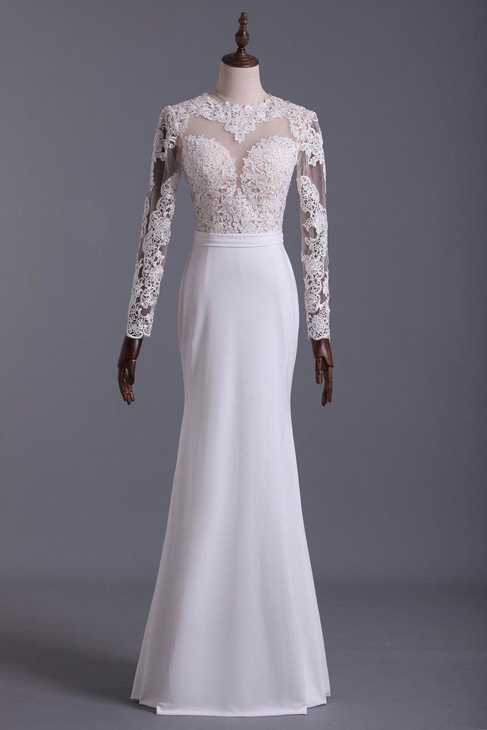 Wedding Dresses Scoop Long Sleeves With Sash Sweep Train