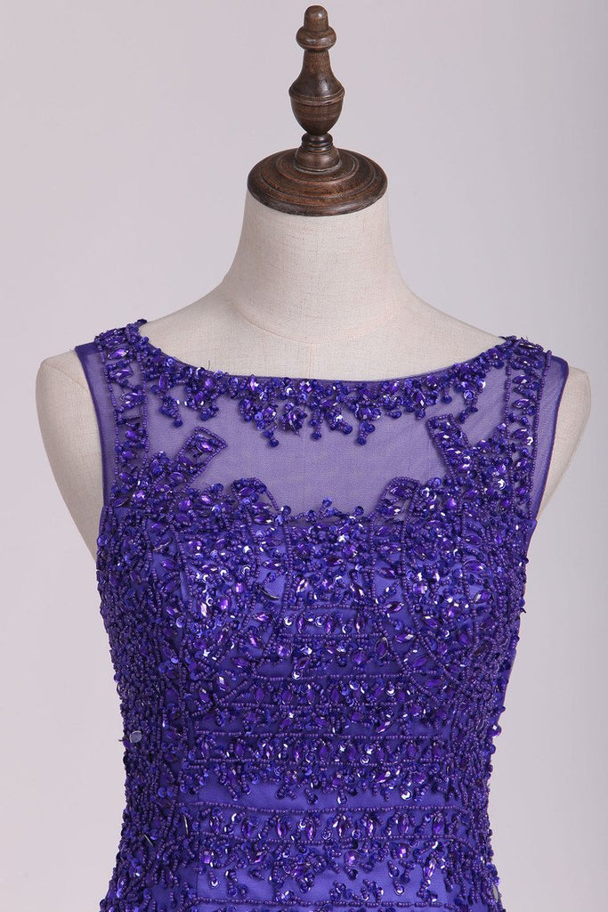 Prom Dresses Scoop Mermaid/Trumpet With Beading Sweep Train