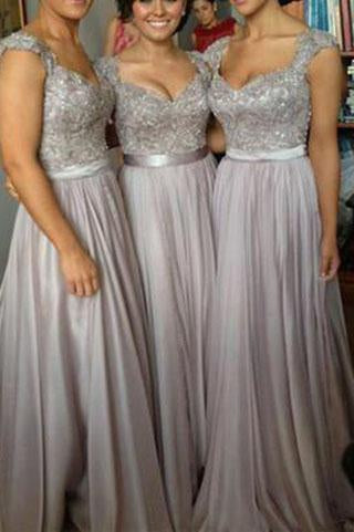 Lace Grey Long Chiffon Sexy Sweetheart Cap Sleeve A-Line Lace up Appliques Bridesmaid Dresses JS46