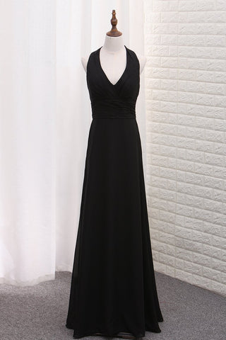 2019 Chiffon V Neck Bridesmaid Dresses A Line With Ruffles Floor