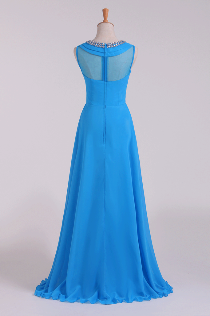 Prom Dresses Scoop A Line Chiffon Beaded Floor Length