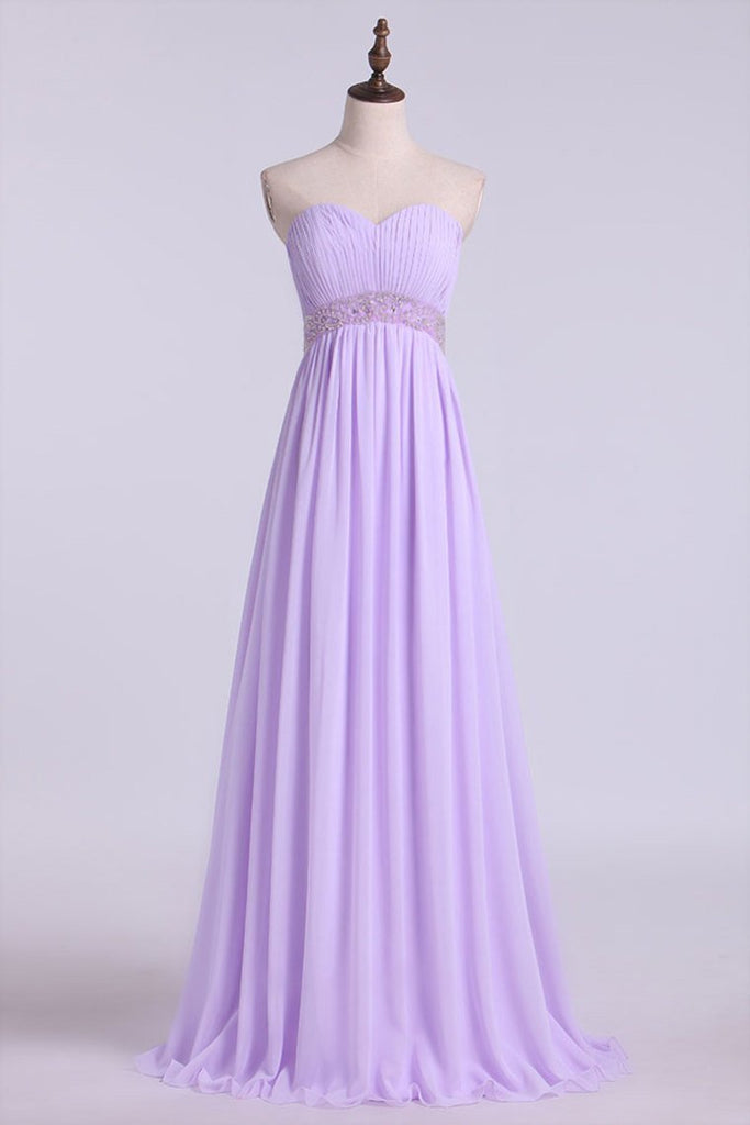 Sweetheart Neckline Ruched Upper Bodice Prom Gown Chiffon Floor