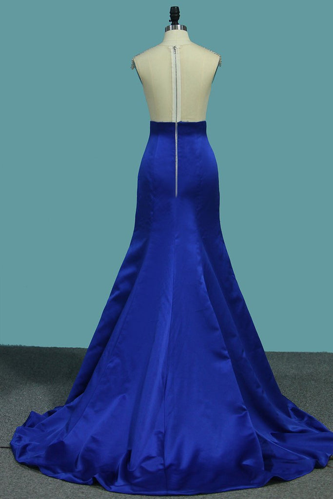 Satin Mermaid V Neck Beaded Bodice Prom Dresses