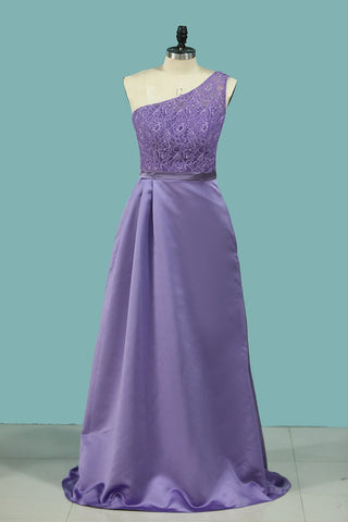 2020 Chic Bridesmaid Dresses One Shoulder Floor Length