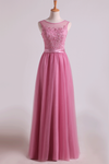2020 Bridesmaid Dresses Scoop A Line Floor Length With Applique Tulle