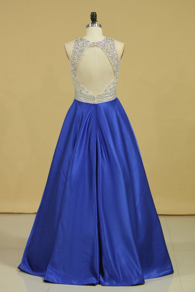 2019 Royal Blue Scoop Open Back Beaded Bodice A Line Prom Dresses Satin & Tulle Plus