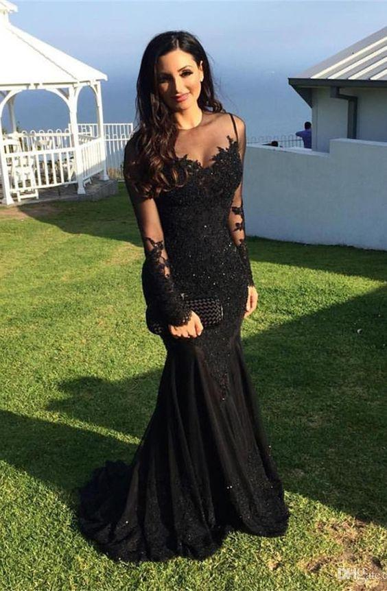 Modset Mermaid Black Long Sleeves Prom Evening Dress with Appliques JS170