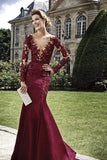 2020 Long Sleeves Bateau Prom Dresses Mermaid Satin With Applique