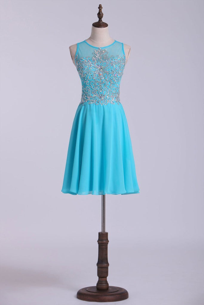 Scoop Homecoming Dresses A-Line Short With Beads