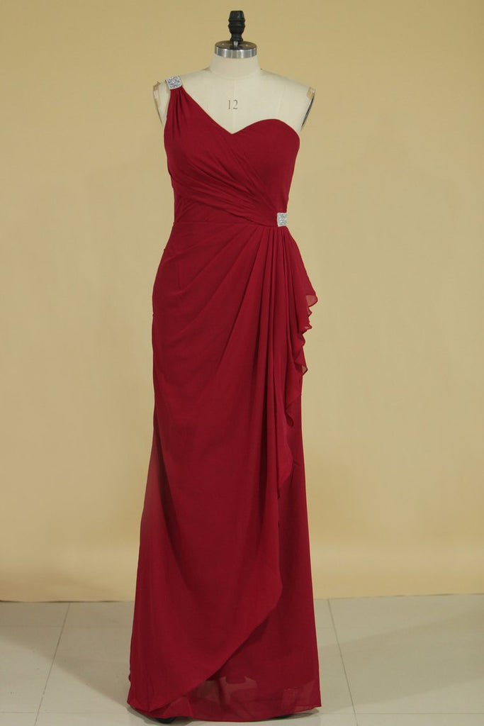 2020 Bridesmaid Dresses Sheath One Shoulder Chiffon With Beads Floor Length