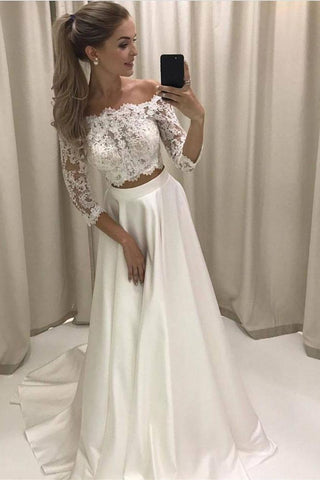 A-line Princess Lace Bodice 3/4 Sleeves Two Pieces Satin Simple Wedding Dresses SME728