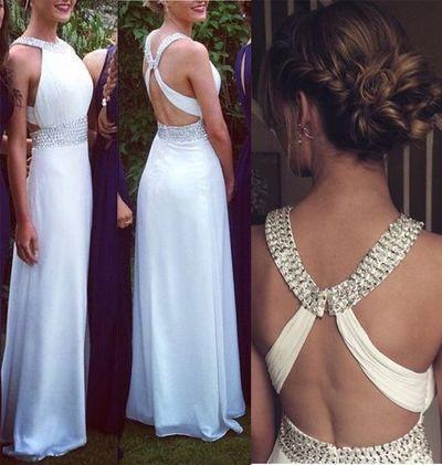 White Open Backs Simple Beaded A Line With Straps Glitter Backless Prom Dress For Teens JS118