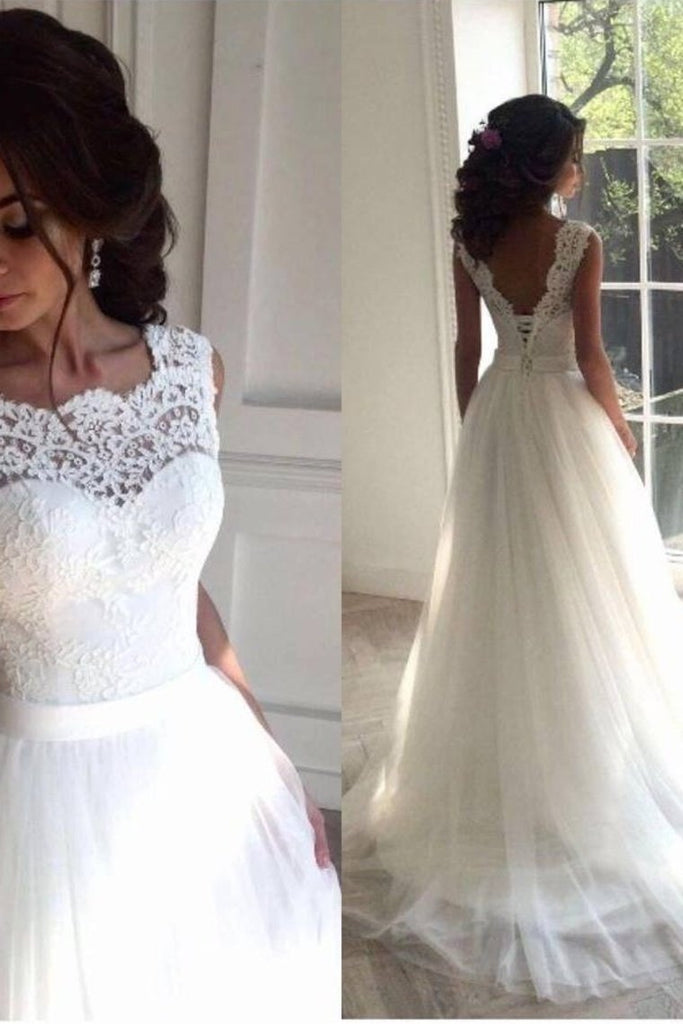 White Open Back Lace Up Modest Lace Tulle Wedding Dresses Bridal