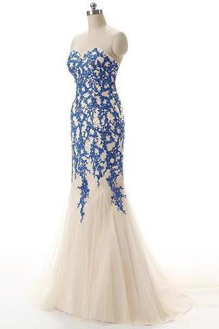 Strapless Tulle Mermaid Lace Dresses Long Prom Dress with Crystals SME223