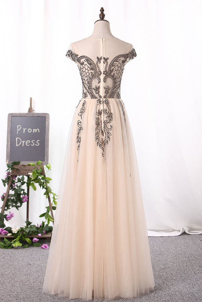 Scoop Cap Sleeve Prom Dresses A Line Tulle With Beads