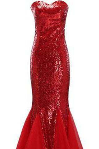 Largos Sparkly Mermaid Strapless Trumpet Fitted Tulle Sequin Long Prom Dresses JS139
