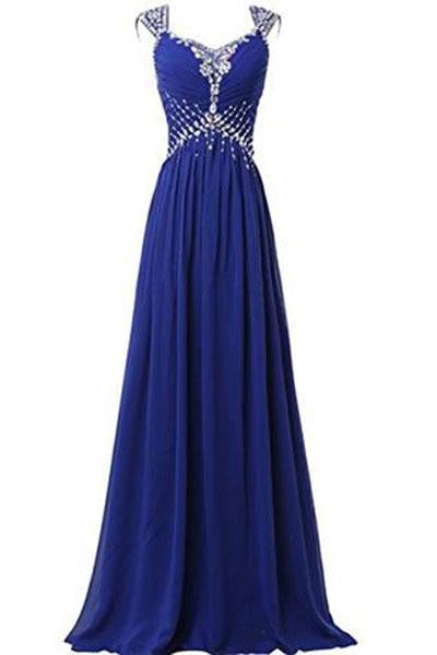V-neck Prom Gowns Party Dresses Chiffon Long Evening Dresses JS205